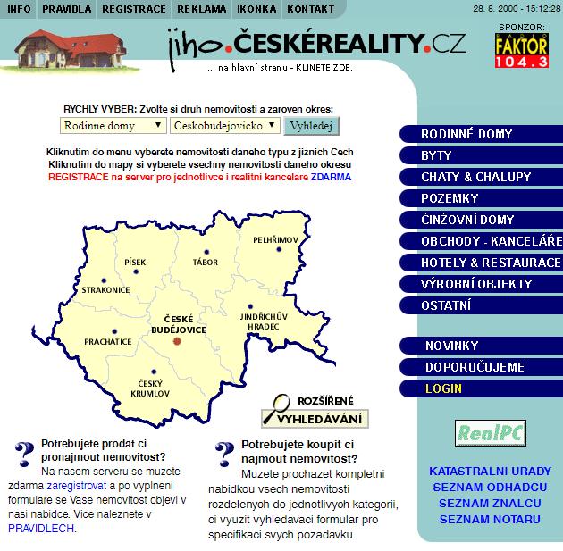 Ukázka první verze webu z roku 2000